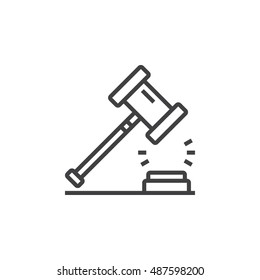 Law symbol. Gavel line icon, outline vector logo illustration, linear pictogram isolated on white