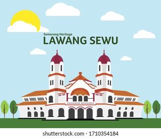 Lawang Sewu (Thousand Doors) Semarang Heritage Illustration Vector Object