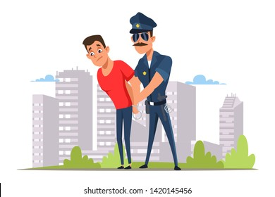 Lawbreaker arrest flat vector illustration. Policeman in sunglasses and criminal in handcuffs cartoon characters. Crime punishment, law enforcement. Police officer caught outlaw. Cop occupation