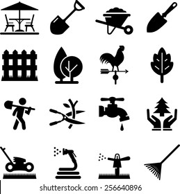Lawn care and landscaping icons