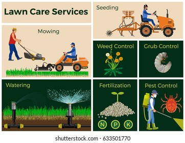 Lawn care services, vector illustrations