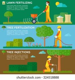Lawn fertilizing. Tree fertilization. Tree injections. Fertilizer bag. Vector illustration.