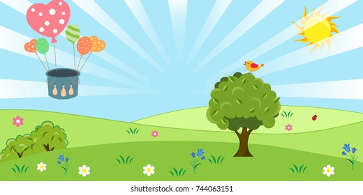lawn, the meadow with grass, sky, sun , balloon and a tree