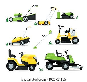 Lawn mover machine with engine and mechanical shear set. Trimming, pruning and cutting grass electric mower cultivator work tool for garden vector illustration isolated on white background
