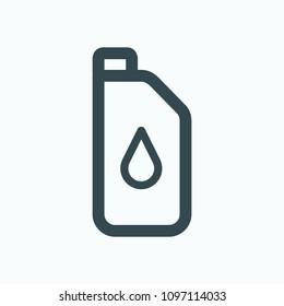 Lawn mover oil icon, trimmer oil vector icon