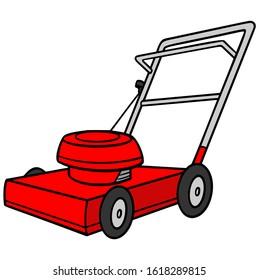 Lawn mower - A cartoon illustration of a backyard Lawn mower.