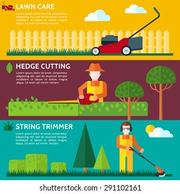 Lawn mower. Gardener cutting a hedge with a electric hedge cutter. Worker cutting grass in garden with the weed trimmer. Vector illustration