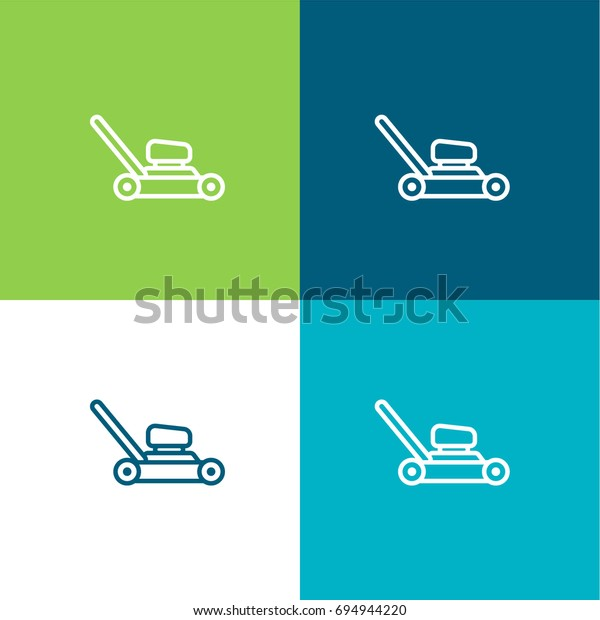 Lawn Mower Green Blue Material Color Stock Vector (Royalty