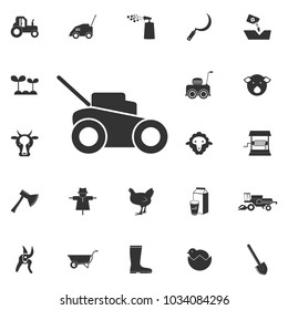 lawn mower icon. Element of farming and garden icons. Premium quality graphic design icon. Signs, outline symbols collection icon for websites, web design, mobile app on white background