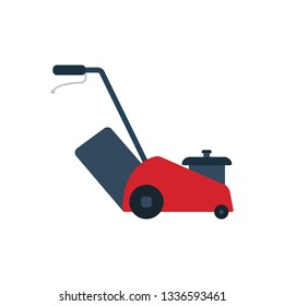 Lawn mower icon. Flat color design. Vector illustration.