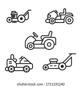 lawn mower icon set editable stroke