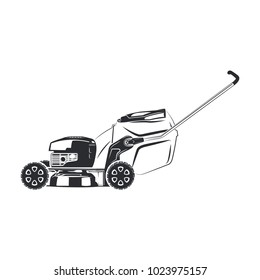 Lawn mower isolated on the white background, monochrome style, vector
