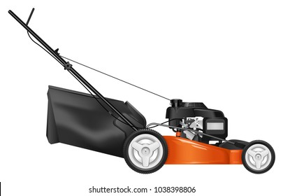 Lawn mower  isolated on white background. Mowed grass. Gardening grass-cutter. Vector illustration.