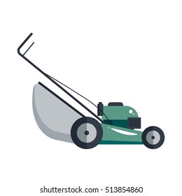 Lawn mower machine icon technology equipment tool, gardening grass-cutter - vector stock.