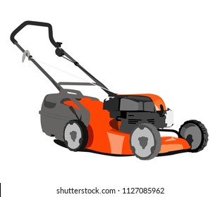 lawn mower realistic vector illustration isolated