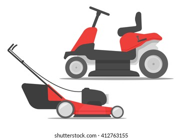 Lawn mower set vector, lawn mower icon, lawn mower red.