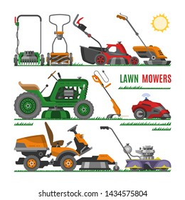 Lawn mower vector gardening lawnmower equipment mowing cutter tool illustration set of mower-engine machine grass-cutter tractor garden trimmer isolated on white background