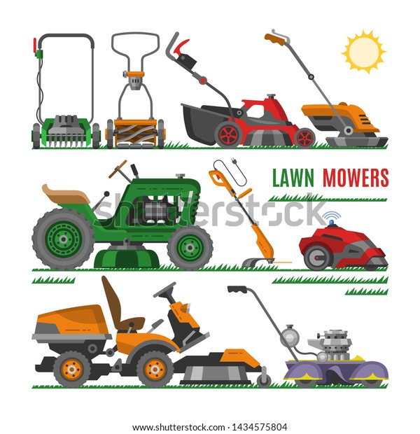 Lawn Mower Vector Gardening Lawnmower Equipment Stock Vector Royalty Free 1434575804