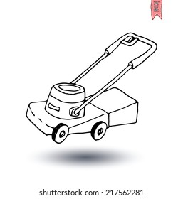 Lawn mower, vector illustration.