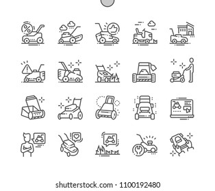 Lawn mower Well-crafted Pixel Perfect Vector Thin Line Icons 30 2x Grid for Web Graphics and Apps. Simple Minimal Pictogram