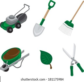 Lawncare Landscaping Green Vector Icons Set