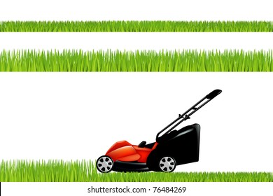 Lawnmower With Grass Set, Isolated On White Background, Vector Illustration