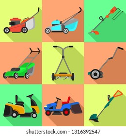 Lawnmower icons set. Flat set of lawnmower vector icons for web design