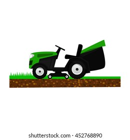 Lawnmower isolated on white background. Garden machinery for cutting grass