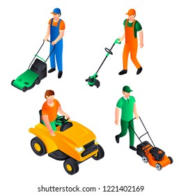 Lawnmower landscaping mowing icons set. Isometric set of lawnmower  landscaping mowing vector icons for web design isolated on white background