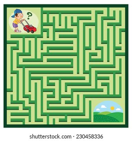 Lawnmower Maze Game (help the boy find his lawn to mow - Maze vector puzzle)