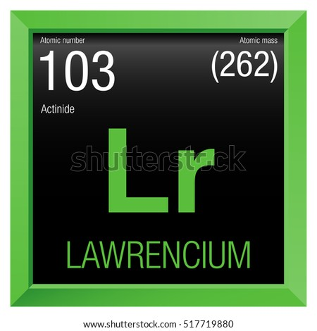 Lawrencium Symbol Element Number 103 Periodic Stock Vector Royalty