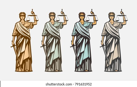 Lawsuit, judge symbol. Lady justice, judgment, defence, justitia concept. Vintage vector illustration