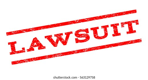 Lawsuit watermark stamp. Text tag between parallel lines with grunge design style. Rubber seal stamp with unclean texture. Vector red color ink imprint on a white background.