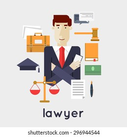 Lawyer, attorney, jurist law, jurisprudence, law and order. Flat style vector illustration.