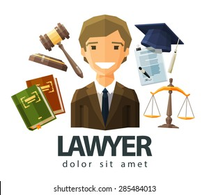 lawyer, attorney, jurist vector logo design template. jurisprudence, law or court icon. flat illustration