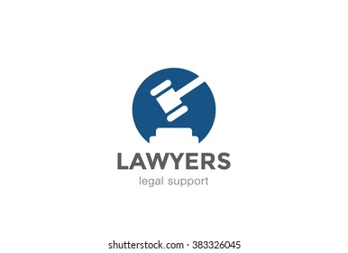 Lawyer Attorney Legal Law firm Logo design vector template Negative space. Circle shape Judge Logotype concept icon.
