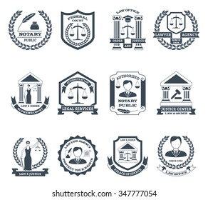 Lawyer black white logo set with notary public and law office symbols flat isolated vector illustration