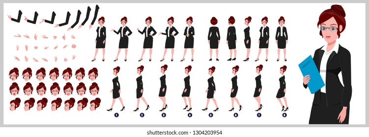 Lawyer Character Model sheet with walk cycle animation. People character design. Front, side, back view animated character. character creation set with various views, face emotions,poses and gestures.