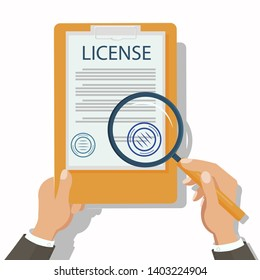 Lawyer Checking Legal Document Flat Illustration. License, Official Permission. Personal Property Protection. Cartoon Attorney Holding Magnifier, Reading Certificate. Civil, Common, Financial Law