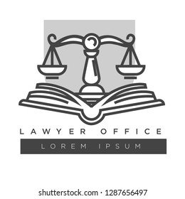 Lawyer company logo template. Vector isolated icon of laws code icon for legal attorney or juridical office