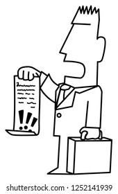 Lawyer demand holding document funny cartoon line drawing, vector, vertical, over white
