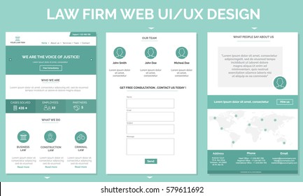 Lawyer Firm One Page Website Template. Vector illustration.