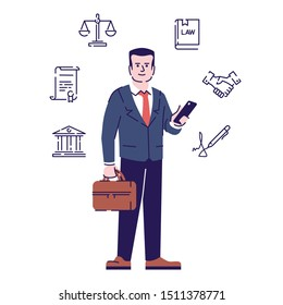 Lawyer flat vector character. Advocate cartoon illustration with outline. Jurist, juridical consultant, legal adviser holding smartphone and briefcase isolated on white background with linear icons