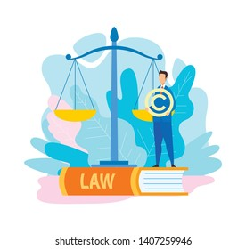 Lawyer Holding Copyright Symbol Flat Illustration. Legal Advice, Financial, Business Consulting Company. Trademark Sign, Intellectual Property Protection. Writers, Artists Rights Defense