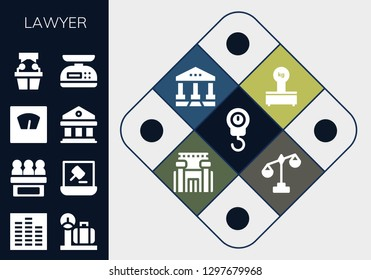 lawyer icon set. 13 filled lawyer icons. Simple modern icons about  - Scale, Equalizer, Jury, Auction, Courthouse, Witness, Scales, Prison