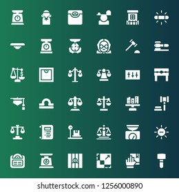 lawyer icon set. Collection of 36 filled lawyer icons included Mallet, Oath, Scale, Prisoner, White balance, Balance, Justice, Law, Auction, Libra, Judge, Punishment, Equalizer