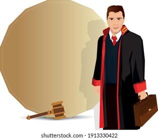 Lawyer illustration. portrait of a smiling lawyer. Turkish April 5 Lawyers Day celebration message. Vector illustration. avukat, savci, hakim ve mesaj icin bir arka plan.