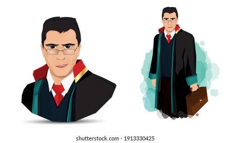 Lawyer illustration. portrait of a smiling lawyer. Turkish April 5 Lawyers Day celebration message. Vector illustration. Avukat, savci, hakim illustration.