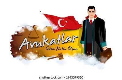 Lawyer illustration. portrait of a smiling lawyer. Turkish April 5 Lawyers Day celebration message. Vector illustration. Turk bayragi ve avukatlar gunu kutlu olsun metni.