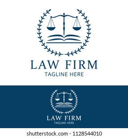 Lawyer law firm logo template. Scale of justice vector